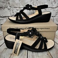 Womens Cushion Walk Sonia Black Slip On Low Heel Sandals VARIOUS SIZES!