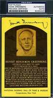 HANK GREENBERG PSA DNA COA Autograph Gold HOF Plaque Hand Signed Authentic
