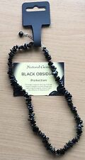 18 Inch Black Obsidian Crystal Chip Necklace - Protective Base Root Chakra