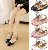 Womens Strap Studded Rivet Metal Flat Pointed Toe Shoes Single Sandals Shoes AA