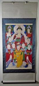 Korea Korean Ink & color (七星神) Seven Star Figural Buddhist Scroll ca. 19th c.