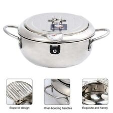 Frying Pot Pan with Oil Strainer Thermometer Kitchen Induction Cooker Gas Stove