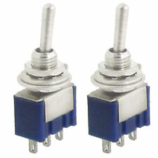 2 Pcs 125V 6A On/On 2 Way SPDT 3 Terminals Toggle Switch Car Dash Metal 12V