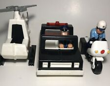Vintage 1981 Fisher Price Quaker Oats Police Car Motorcycle Helicopter w/ Men