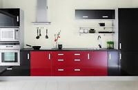 BUY 2 GET 1 FREE! Gloss Kitchen Units Cupboard Doors Draws Self Adhesive Vinyl