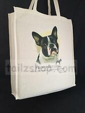French Bulldog (b) Cotton Shopping Bag with Gusset and Long Handles Perfect Gift