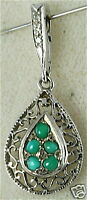 14K WHITE GOLD TURQUOISE DIAMOND PEARL ENHANCER PENDANT