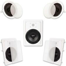 5 Speaker System In Wall Ceiling 1500-Watt 8 in. Home Theater Surround Sound