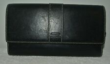SPACIOUS COACH LEATHER WARE BLACK LEATHER CLUTCH CHECKBOOK WALLET