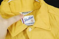 Vintage 50s Fleetline Rayon Rockabilly Button Shirt Atomic Mustard Yellow Mens L