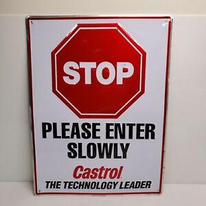 Vintage Castrol Stop Please Enter Slowly Metal Sign 24x18 1995 USA
