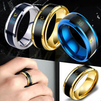 Men Smart Mood Temperature Ring Display Ring Stainless Steel Personalized Ring