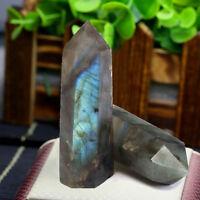 2pcs Natural Labradorite Fluorite Wand Quartz Crystal Point Healing Obelisk Reik