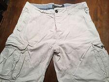 L.O.G.G./H&M Mens' Shorts Sz 34 Cargo Lightweight Ivory/Tan Subtle Pinstripe EUC