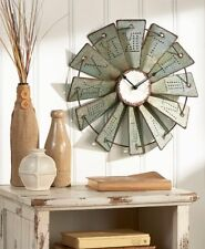 Rustic Country Western Farmhouse Metal Windmill Wall Clock Home Decor Roman #'s