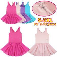 Girls Ballet Dance Dress Kids Cotton Tulle Leotard Tutu Skirt Dancewear Costume