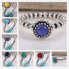 925 Silver Birthstone Month Stone Natural Topaz Vintage Wedding Ring size 6-10