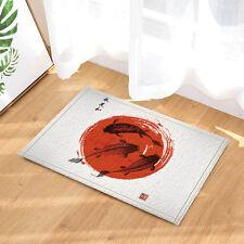 Koi & red sun Flannel Door Mat Bathroom Carpet Rug Non Slip Door Floor Mat Rugs