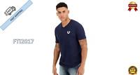 NEW True Religion Men's Classic Horseshoe Logo V-Neck Tee Shirt Top Large Blue