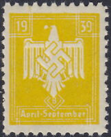 Stamp Germany Revenue WW2 3rd Reich War War Era War April September 1939 MNH