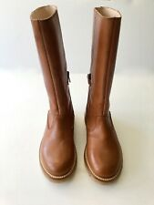 NEW BONPOINT DESIGNER GIRLS LEATHER TALL BOOTS 33 2 3 SADDLE ITALY BOUTIQUE CHIC