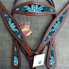 C-LTRQ Western Horse Headstall Breast Collar Set Tack American Leather Turquoise