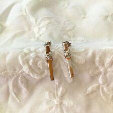 Elegant Solid 9ct White GOLD Diamond EARRINGS 22mm Drop 2.1grams