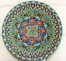 Handcrafted and Hand painted Persian enamel glazed Ceramic Platter - Size 30cm