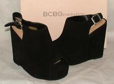 BCBG BCBGeneration FADER Suede Open Toe Wedge Heel Black Crosta size 7.5 NEW