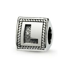Letter L Triangle Block Bead .925 Sterling Silver Antiqued Reflection Beads