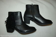 """Womens BLACK ANKLE BOOTS 2"""" Heel FRINGE ACCENT Zipper FAUX LEATHER Size 8"""