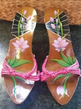 Authentic Christian Dior Wood Sandal Shoes Heel Europe Size 38