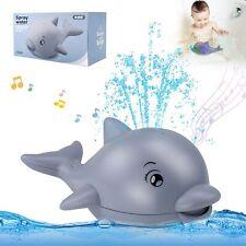 Badewannenspielzeug Sprinkler Wal, Badespielzeug mit Licht und Musik Baby Grau