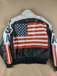 """""""USA Flag"""" Leather Jacket L by Michael Hoban """"Wheremi"""" Label Some Minor Defects"""