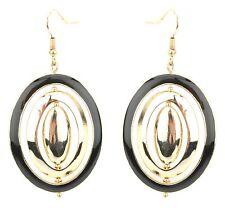 Pierced Ears Black & Golden Zest Spinning Oval Earrings for