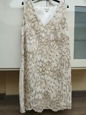 Monsoon Mother Bride Wedding Ivory Gold Shift Dress sequins /embroidery/cruise18