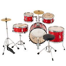 16'' 5 Piece Complete Kids Junior Drum Set Kit w/ Stool Cymbal Sticks Pedal Red
