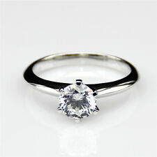 6 Prong Round Cut 1ct Solitaire NSCD Diamond Simulant Certified Engagement Ring