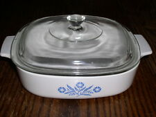 """Corning Ware BLUE CORNFLOWER Pattern A-8 Covered 8"""" x 8"""" x 1¾"""" Skillet"""
