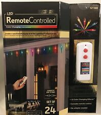 24 LED Icicle 12 Color Changing Effects Remote Control Christmas Light Show