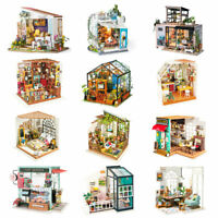 Robotime Miniature Wooden Dollhouse with DIY Furniture LED Kits Handcrafted Toy