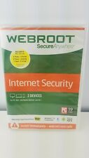 Webroot Secure Anywhere Internet Security 3 Devices New Sealed Windows Mac ios