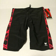 TYR Mens Black Jammer Swim Suit Size 36 Red Splice Shatter New Competition