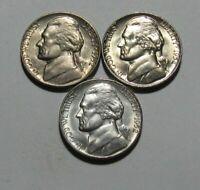 1952 P 1952 D 1952 S Jefferson Nickel - Choice/Gem BU Condition PDS Strong Steps