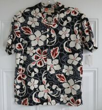 Womens Hilo Hattie Size Small S Rayon Hawaiian Shirt Floral Red Black White