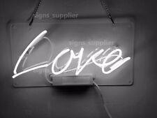 New White Love Acrylic Neon Sign 14'' Light Lamp Bar Wall Decor Display Gift