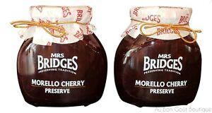 MRS. BRIDGES of SCOTLAND, SET OF 2 JARS, MORELLO CHERRY PRESERVES, IMPORTED