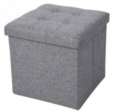 Linen chenille Storage Box Foldable Ottoman Box Stool Only Single silver grey