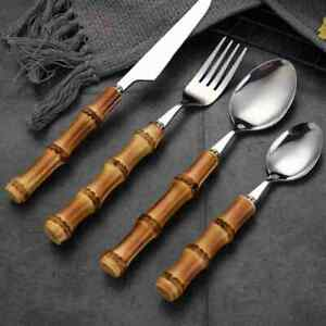 Steak Knife Cutlery 2PC/4PC Flatware Pieces with Bamboo Handle Fork Spoon Knife