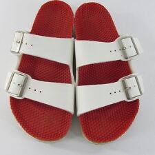 Birkenstock Arizona White Birko Flor 2 Strap Slide Textured Footbeds  39 L8 M6